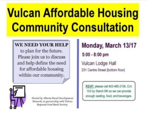 Vulcan Affordable Housing Community Consultation @ Vulcan Lodge Hall | Vulcan | Alberta | Canada