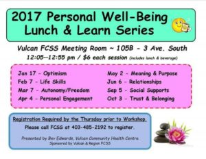 Personal Well-being Lunch & Learn Part 3 @ Vulcan FCSS Meeting Room | Vulcan | Alberta | Canada