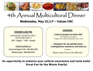 4th Annual Multicultural Dinner @ Vulcan CRC (Behind High School) | Vulcan | Alberta | Canada